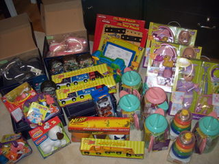 The full suite of toys/boots etc. going to Al's Angels